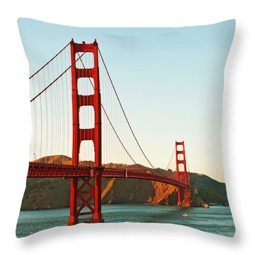 Golden Gate Bridge At Sunset Throw Pillow