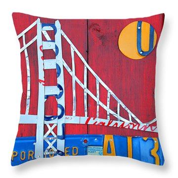 Golden Gate Bridge California Recycled Vintage License Plate Art On Red Distressed Barn Wood Throw Pillow With Interior Design