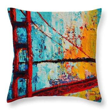 Golden Gate Bridge Modern Impressionistic Landscape Painting Palette Knife Work Throw Pillow