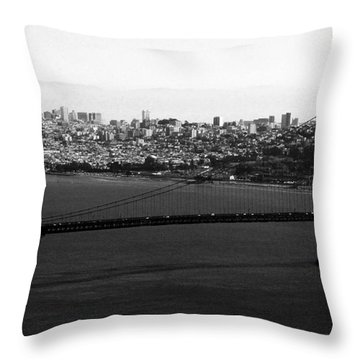 Golden Gate Bridge In Black And White Throw Pillow