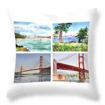 Golden Gate Bridge San Francisco California Throw Pillow by Irina Sztukowski