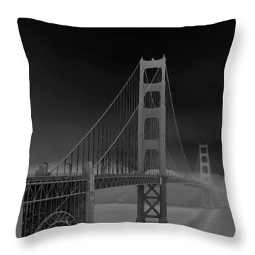 Golden Gate Bridge To Sausalito Throw Pillow by Connie Fox
