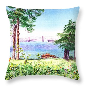 Golden Gate Bridge View From Lincoln Park San Francisco Throw Pillow