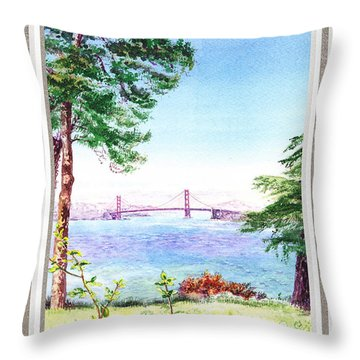 Golden Gate Bridge View Window Throw Pillow