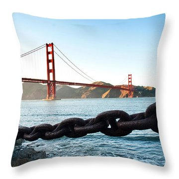 Golden Gate Bridge With Chain Throw Pillow