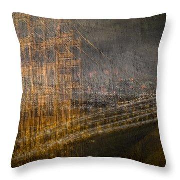 Golden Gate Chaos Throw Pillow