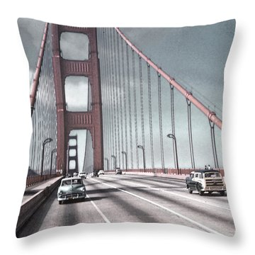 Golden Gate Crossing Throw Pillow by Eric  Bjerke Sr
