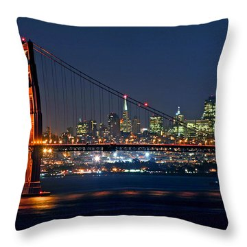 Throw Pillow featuring the photograph Golden Gate Night 10-26-10 by Christopher McKenzie