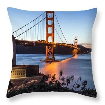 Golden Gate Night Throw Pillow