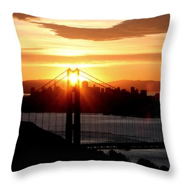 Throw Pillow featuring the photograph Golden Gate Sunrise 12-2-11 by Christopher McKenzie
