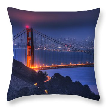 Golden Gate Twilight Throw Pillow