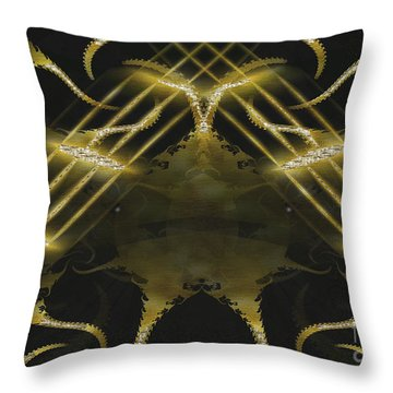 Throw Pillow featuring the digital art Golden Globe Around The World by Melissa Messick