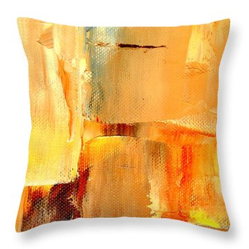 Throw Pillow featuring the digital art Golden Glow Abstract Pillow By Vivian Anderson by Artists for Altered Cats Cyprus