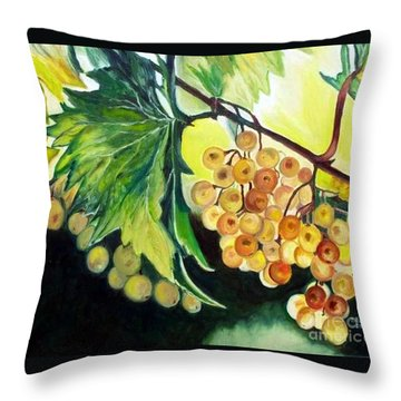Throw Pillow featuring the painting Golden Grapes by Julie Brugh Riffey