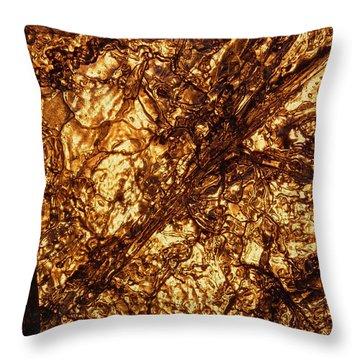 Golden Grooves Throw Pillow