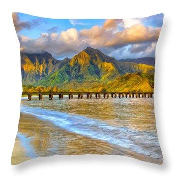Golden Hanalei Morning Throw Pillow