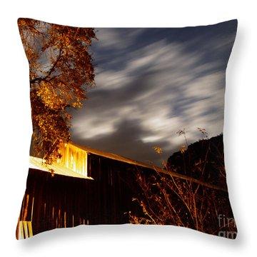 Golden Honeyrun Covered Bridge Throw Pillow by Peter Piatt