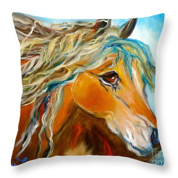 Throw Pillow featuring the painting Golden Horse by Jenny Lee