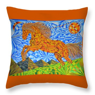 Golden Horse Over The Bitterroot's Throw Pillow