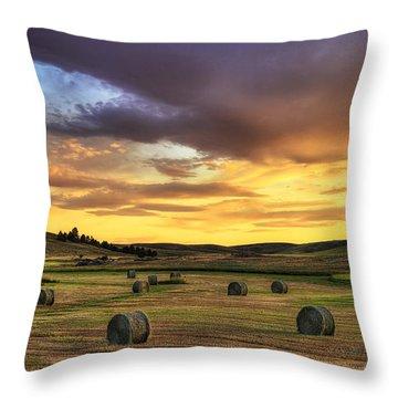 Golden Hour Farm Throw Pillow
