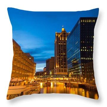 Golden Hour Milwaukee River Throw Pillow