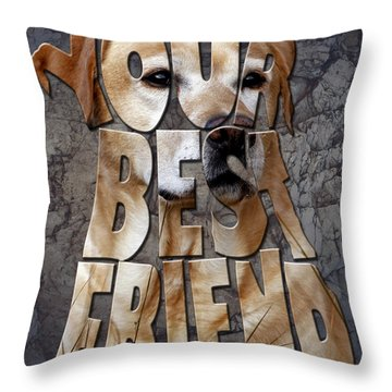 Golden Labrador Retriever Typography Art Throw Pillow by Georgeta Blanaru