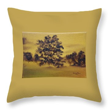 Throw Pillow featuring the painting Golden Landscape by Judith Rhue
