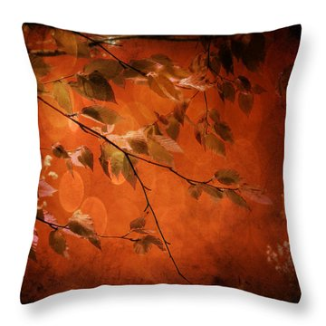 Throw Pillow featuring the digital art Golden Leaves-1 by Nina Bradica