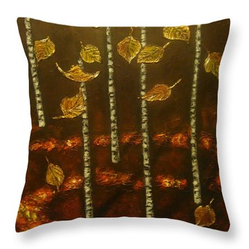Golden Leaves 2 Throw Pillow