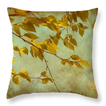Throw Pillow featuring the digital art Golden Leaves-2 by Nina Bradica
