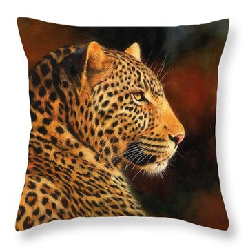 Golden Leopard Throw Pillow by David Stribbling