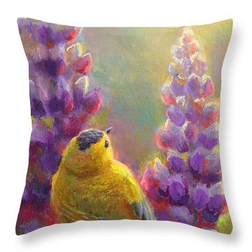Golden Light 1 Wilsons Warbler And Lupine Throw Pillow