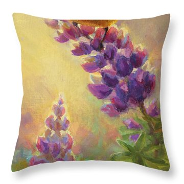 Golden Light 2 Wilsons Warbler And Lupine Throw Pillow