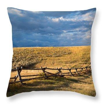 Golden Light On A Stormy Prairie Throw Pillow