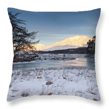 Throw Pillow featuring the photograph Golden Light On Loch Tulla by Stephen Taylor