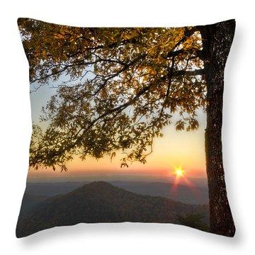 Golden Lights Throw Pillow by Debra and Dave Vanderlaan
