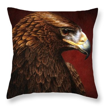 Throw Pillow featuring the painting Golden Look Golden Eagle by Pat Erickson
