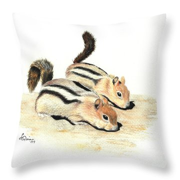 Golden-mantled Ground Squirrels Throw Pillow by Lynn Quinn
