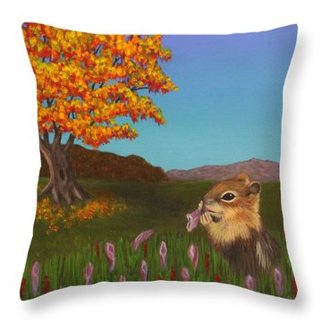 Golden Mantled Squirrel Throw Pillow