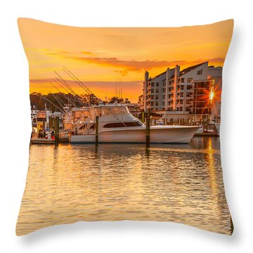 Golden Marina Throw Pillow