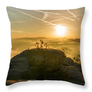 Golden Morning On The Lilienstein Throw Pillow