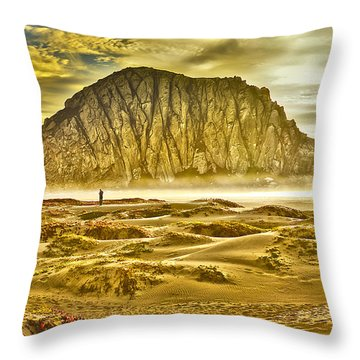 Golden Morro Bay Throw Pillow