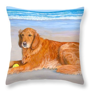 Throw Pillow featuring the painting Golden Murphy by Karen Zuk Rosenblatt