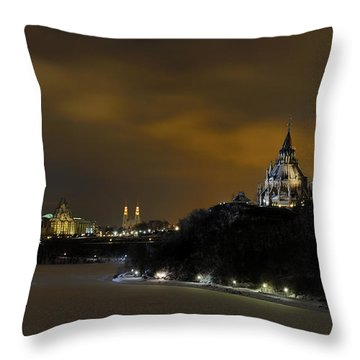 Golden Night... Throw Pillow by Nina Stavlund
