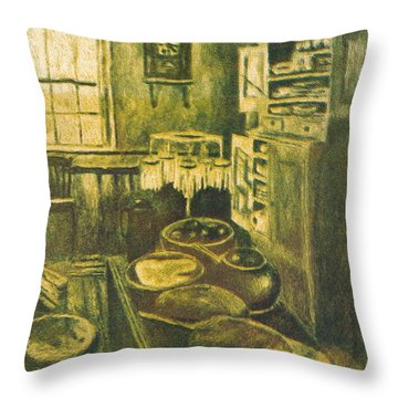 Golden Old Fashioned Kitchen Throw Pillow by Kendall Kessler