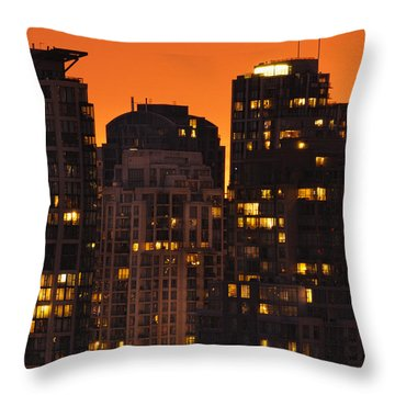 Throw Pillow featuring the photograph Golden Orange Cityscape Dccc by Amyn Nasser