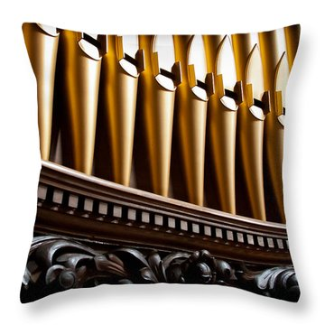 Golden Organ Pipes Throw Pillow