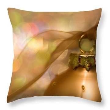 Golden Ornament With Ribbon Throw Pillow