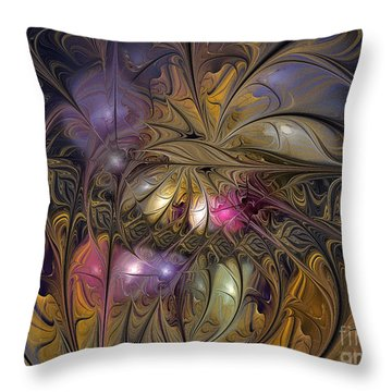 Golden Ornamentations-fractal Design Throw Pillow