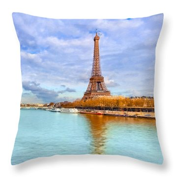 Golden Paris - Eiffel Tower On The Seine Throw Pillow